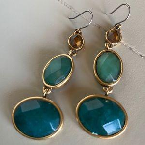 Jewel Tone Stone Drop Earrings